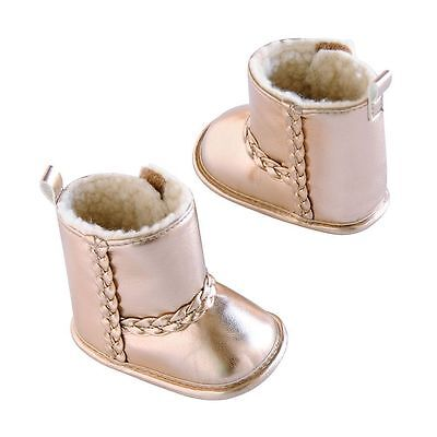 Carters Infant Baby Girls Crib Boots Shoes Metallic Rose Gold New