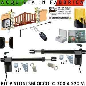 Kit Apri Cancello Battente Pistoni 230 V. Automazione Bracci Elettrici Intensivo  eBay