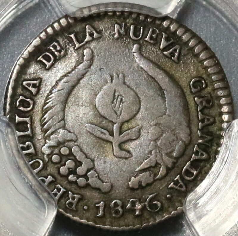 1846/5-UE PCGS XF 40 Colombia 1/2 Real Rare Popayan Mint Coin POP 1/0 (20040702C