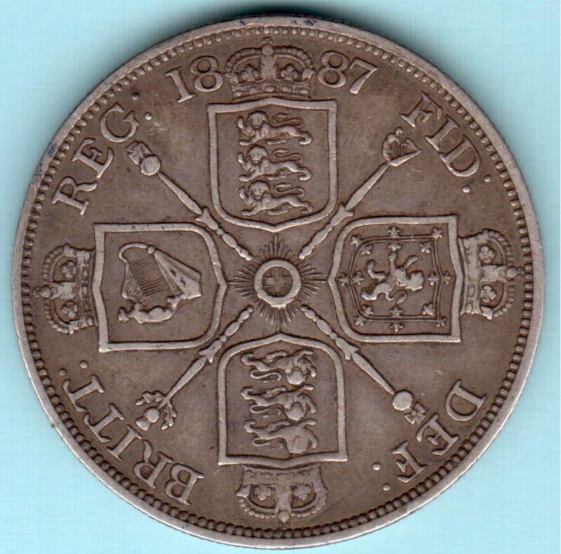 1887 UK double florin (4 shillings) * Roman 1 variety * rare coin