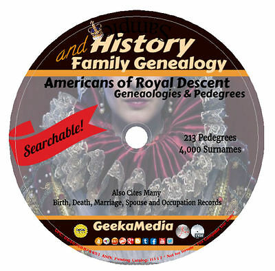 Americans of Royal Descent Searchable DVD Genealogy Family Tree History Pedigree