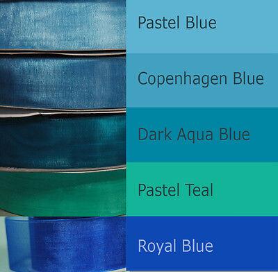 "SALE 25-yd 1.5"" ORGANZA ribbon navy blue mossy lime green teal purple aqua sheer"