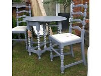 Dove Grey Drop Leaf Table and Chairs Set