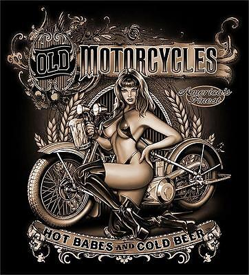 Old Motorcycles Hot Babes Cold Beer Black Tee Shirt Size Xxl Adult T307 Biker