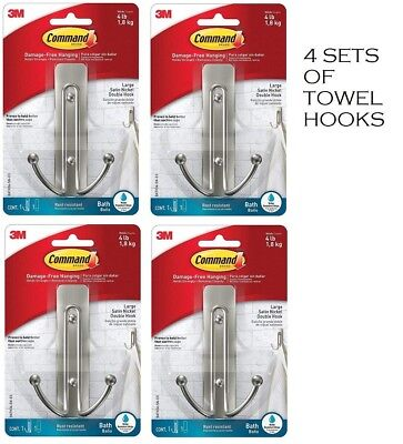 Command Wall Double Bath Hooks Satin Nickel Water-Resistant