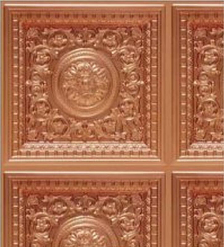 Dollhouse Wallpaper Ceiling Tile Rosette Panel Copper Light 1:24 Scale