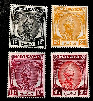 Malaya Pahang 1950/52 SELECTION x4 MINT STAMPS MLH 1,2,10&30c