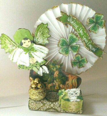 St. Patricks Day altered art vintage reproduction Fairy in Shoe pot o' gold OOAK