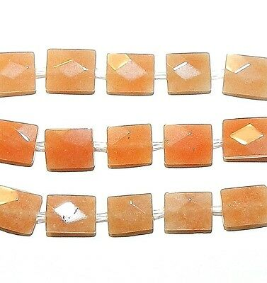 NG1595 Red Aventurine 10mm Faceted Rectangle Natural Gemstone Beads 5pc