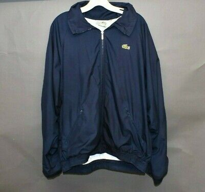 Vtg Chemise Lacoste Mens Navy Blue Lined Windbreaker Jacket XL/2XL