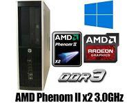 Win 10 Pro, 8 GB Ram DDR3, HP PC Desktop, AMD 3.0GHz, 250GB HD