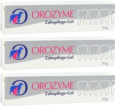 3 x Orozyme Zahnpflege Gel 70 g zur Mundhygiene bei Hunden und Katzen