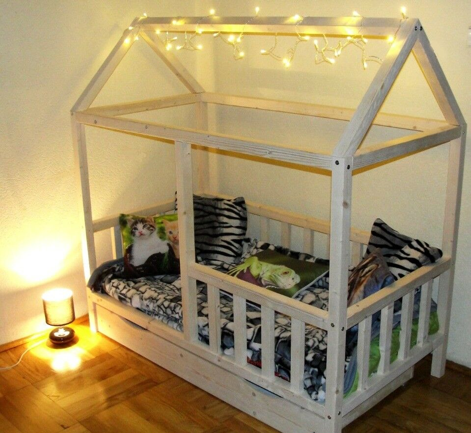 Children Kids House Bed Frame Scandinavian Style In