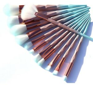 Pink and Mint 12 PCS Makeup Brushes - Brand New