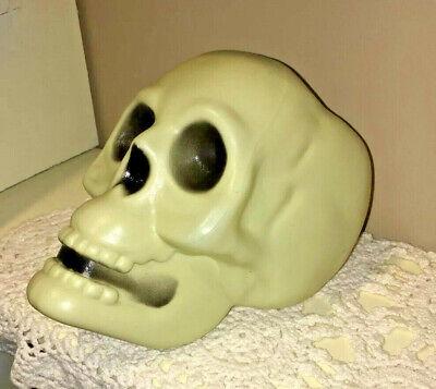 "Vtg Blow Mold Halloween Skeleton SKULL 6"" Head Scary Decoration Table Top Bowl"