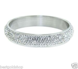 QVC-Pave-Crystal-Round-Band-Style-Bangle-Bracelet-Stainless-Steel-by-Design