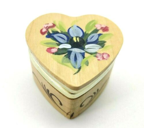 Holzschnitzerei Oberammergau Heart Shaped Wooden Ring Trinket Box Hand Painted