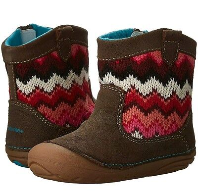 NEW Stride Rite Quinn Baby Girl Boots Shoes Infant Toddler Brown 4M 4 Chevron