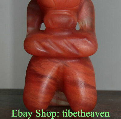 """8"""" Old Chinese Hongshan Culture Crystal Carving Sun God Old Man Statue S04"""