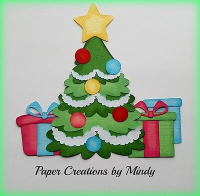 CRAFTECAFE MINDY CHRISTMAS TREE PRESENTS premade paper piecing scrapbook page (Paper Christmas Tree)