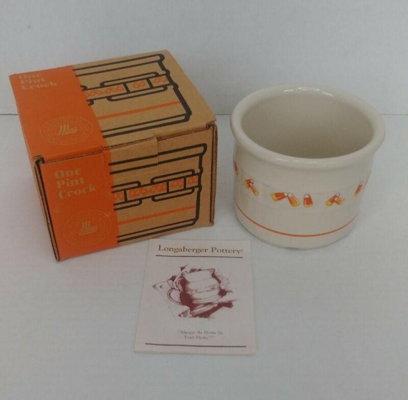 Vintage Longaberger Candy Corn Halloween One Pint Crock Pottery Original Box