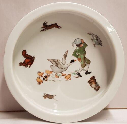 Vintage Ceramic Nursery Ware Mother Goose Bowl Goose Squirrel Mouse Kitten Bunny