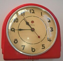 Vintage Telechron Red Electric Wall Kitchen Clock Fair Condition