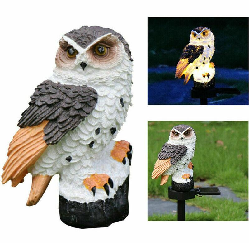 Outdoor Solar Power LED Owl Light Garden Yard Landscape Decor Lamp Waterproof