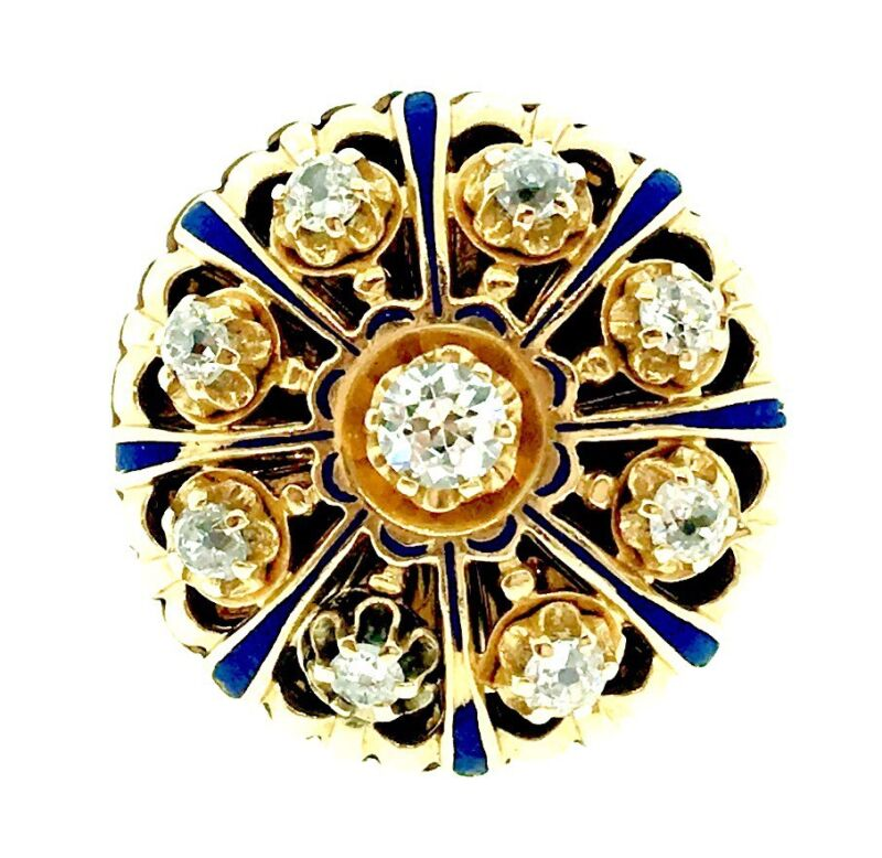 .85 Ct Antique Old Cut Diamond And Enamel Ring In 14k Yellow Gold- Hm969i