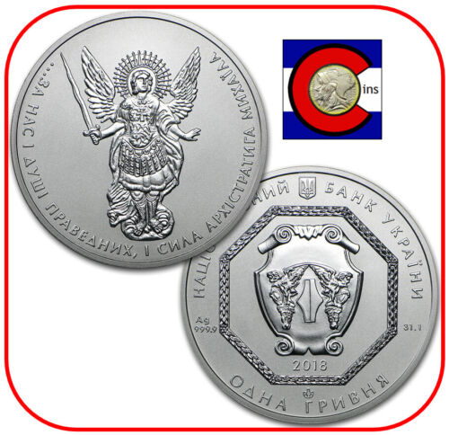 2018 Ukraine Archangel Michael Silver 1 oz Coin in original capsule