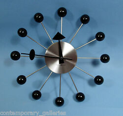 New Contemporary Modern Retro Black & Silver George Nelson Ball Wall Clock 14