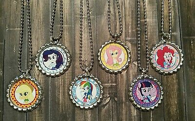 6 My Little Pony Equestria girls Bottle Cap Necklaces Party Favors Gifts