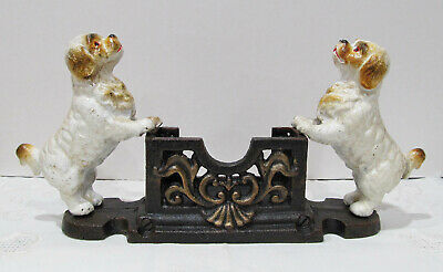 Cast Iron Spaniels Dogs Business Card Holder Ornate Vintage Antique Style