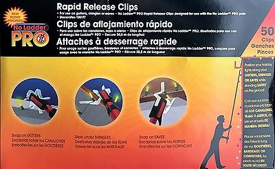 100 No Ladder Pro Rapid Release Clips - Christmas Lights Gutters/Shingle/Eaves