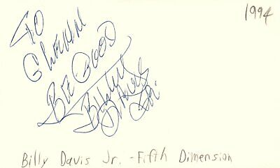 Billy Davis Jr Musician Fifth Dimension Music Autographed Signed Index Card Index Card Dimensions