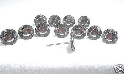 """LOT OF 12-1"""" STAINLESS STEEL WIRE BRUSH FOR DREMEL/ROTARY TOOL"""