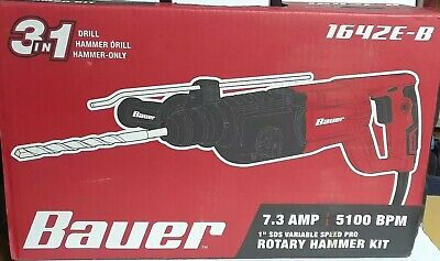 Bauer 1 Inch Sds Variable Speed Pro Corded Rotary Hammer Kit Model 1642e-b 4434