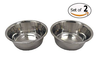 "Stainless Steel Dog Bowl Set, 8"" Large, 64oz/2-Quart Bowls, Two Bowls"