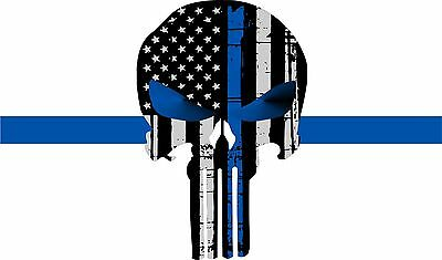 "Thin Blue Line Products PUNISHER-  5 "" x 3"" Tattered Flag Police Decal"