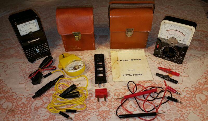 Vtg Lafayette, Simpson/Amprobe Volt Ammeter, Multitester Meters W/Case