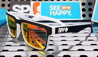 New Spy HELM Whitewall  673015209365 Sunglasses Black-Wht w/Red Spectra Happy