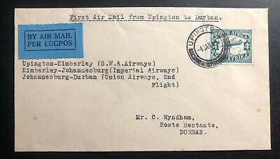 1933 Upington South Africa First Flight Airmail Cover FFC To Durban Natal