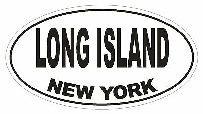 Long Island New York Oval Bumper Sticker or Helmet Sticker D1479 Euro - Island New York Sticker