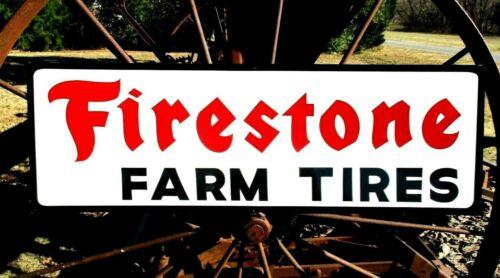 Vintage Hand Painted FIRESTONE FARM TIRES Motor Dealership Sign Gas Oil bl Trim