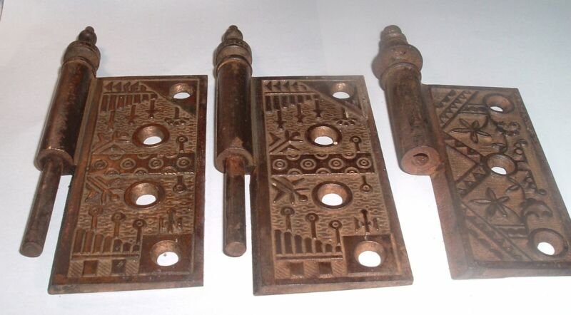 3 Antique Bronze Aesthetic Movement Door Hinge Parts