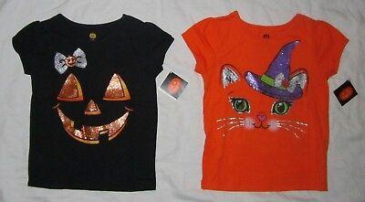 NWT Toddler Girls Halloween Pumpkin Face & Kitty Cat 2 T-shirts - size 3T & 4T](Toddler Halloween T Shirts)
