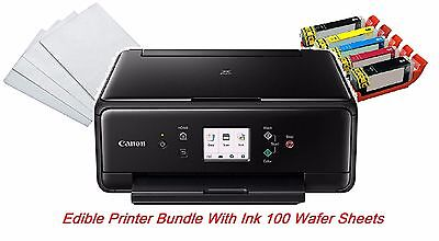 Edible Canon TS6020/TS5020 LCD Printer Bundle,5 Edible Ink ,100 Wafer Sheets