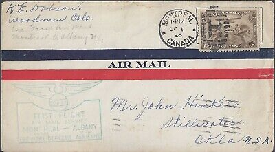 1928 CANADA FFC - MONTREAL TO ALBANY, N.Y. - BACK STAMPED - CACHETED!