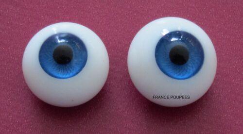 Yeux bleu 16mm en verre ronds poupée ancienne/moderne/Reborn-dos plat-Doll eyes