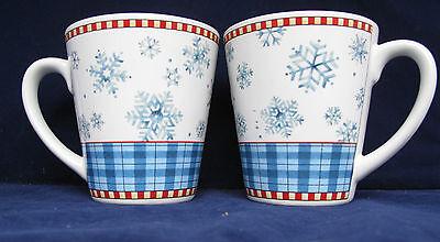 Sakura Debbie Mumm Snowflake Coffee Mugs Cups Winter Christmas StonewarLot of 2  ()